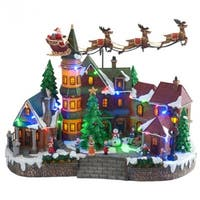Nature's Mark NM-X11647FA Animated Santa Village Scene with LED Lights & Music
