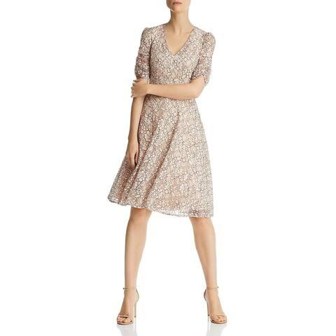Eliza J Womens Fit & Flare Dress Floral Lace Cocktail - Blush