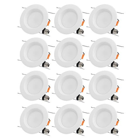 12 PACK 15W 6 inch 5000K Daylight Dimmable Recessed LED Downlight, Baffle Trim