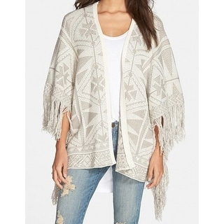 Sun & Shadow NEW White Ivory Women's Size Small S Cardigan Printed Sweater