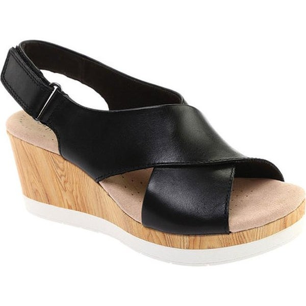 04fc2a4ef Shop Clarks Women s Cammy Pearl Slingback Wedge Sandal Black Leather ...