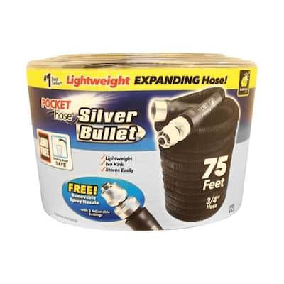Pocket Hose Silver Bullet Expanding Black Plastic Garden Hose - 7.55 x 8.8 x 6.1