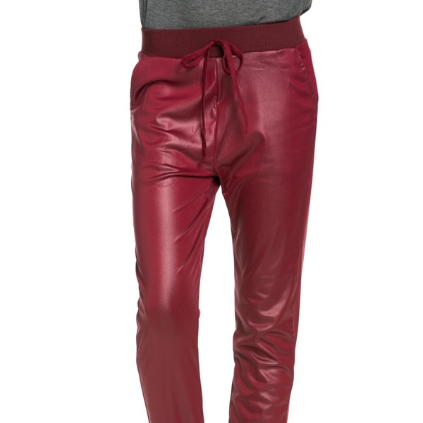 810ef87ee997 Shop Pu Faux Leather Trouser Pants Burgundy - Free Shipping On ...