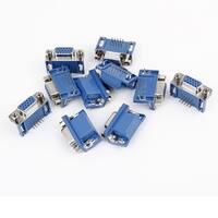 10 x Soldering 3 Row DB-15 Female 15Pin Plug VGA SVGA D-Sub Connector Adapter