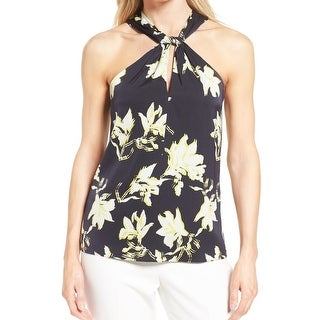 Classiques Entier Navy Womens Printed Halter Blouse