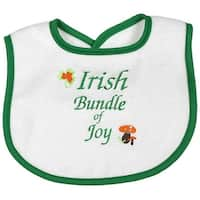"Raindrops Unisex Baby Green ""Irish Bundle of Joy"" Embroidered Bib - One size"