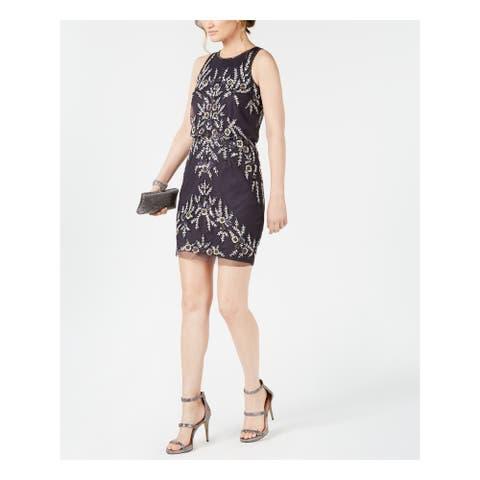 ADRIANNA PAPELL Gray Sleeveless Mini Sheath Dress Size 12