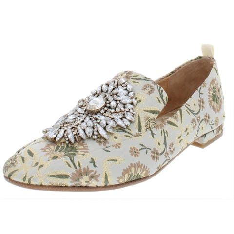 Badgley Mischka Womens Salma Loafers Embroidered Embellished