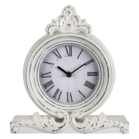 """Vintage Look White Distressed Table Clock - 11""""H x 10.5""""W x 3""""D"""