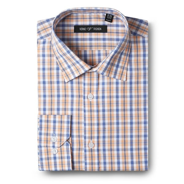 Men's Dress Shirts Slim Fit Cotton Long Sleeve Plaid Shirt Casual Basic Dress Shirts for men. Opens flyout.