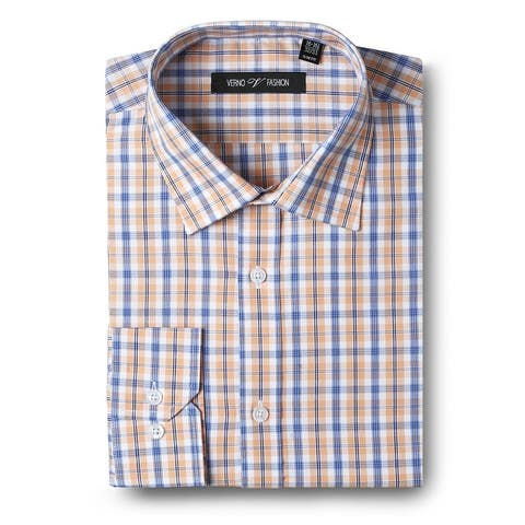 Men's Dress Shirts Slim Fit Cotton Long Sleeve Plaid Shirt Casual Basic Dress Shirts for men