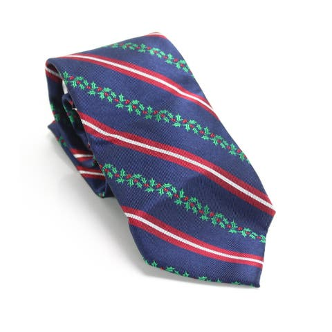 Club Room Men's Red Navy Blue Holiday Holly Striped Neck Tie Silk