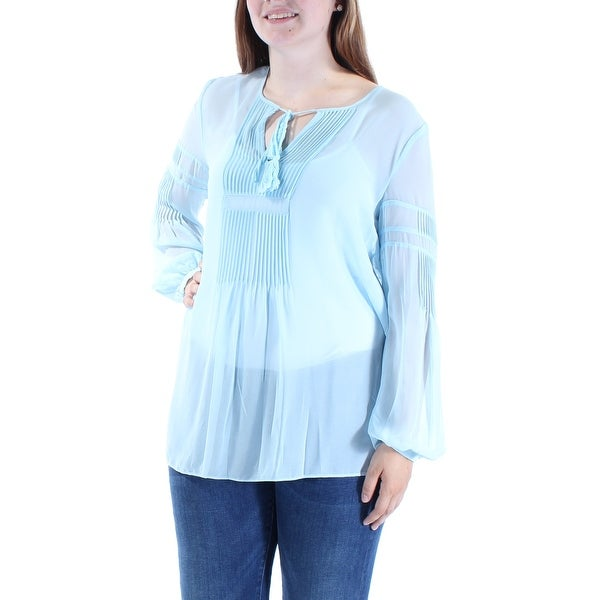 9c031fb8 Shop TOMMY HILFIGER Womens Light Blue Pleated Tie Long Sleeve Keyhole Tunic  Top Size: M - Free Shipping On Orders Over $45 - Overstock - 24061164