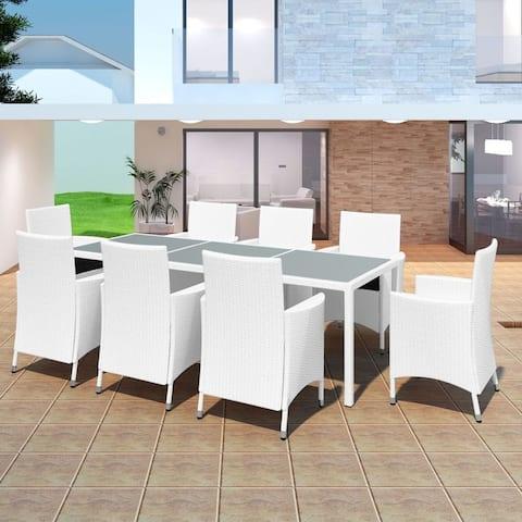 vidaXL Garden Dining Set 17 Piece Poly Rattan Wicker Outdoor Dining Table Seat
