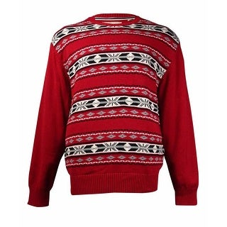 Weatherproof Men's Fair Isle-Print Sweater (Tartan Red, XL) - XL