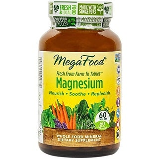 MegaFood Magnesium - 60 Tablets Nourish Soothe Replenish Heart and Nervous System Support Muscle Relaxtion