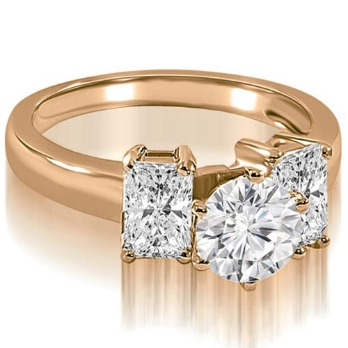 1.50 cttw. 14K Rose Gold Round and Emerald Cut 3-Stone Diamond Engagement Ring