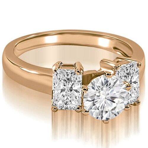 1.75 cttw. 14K Rose Gold Round and Emerald Cut 3-Stone Diamond Engagement Ring