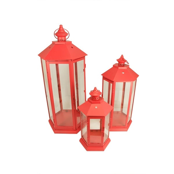 """Set of 3 Red Traditional Style Pillar Candle Holder Lanterns 27"""" - N/A"""