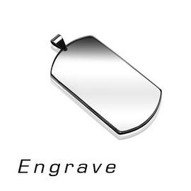Plain Medium Sized Engravable Stainless Steel Dog Tag Pendant (26.7 mm Width)