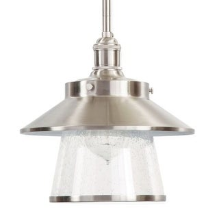 "Park Harbor PHPL5011 Stockton 9"" Wide Single Light Mini Pendant with Industrial Style Shade and Seedy Glass"