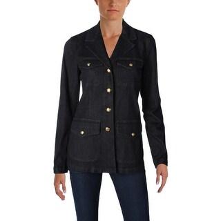 Lauren Ralph Lauren Womens Braylin Denim Jacket Button Front Notch Collar