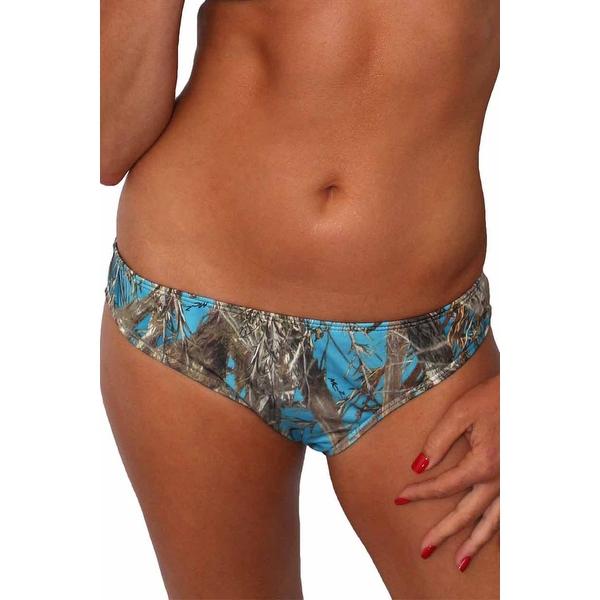 Women's Blue Camo Authentic True Timber Basic Bikini BOTTOM ONLY Beach Swimwear