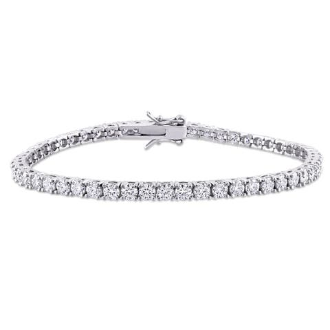 Miadora Sterling Silver 5 5/8ct TGW Moissanite Tennis Bracelet - 7 in x 3 mm x 3 mm