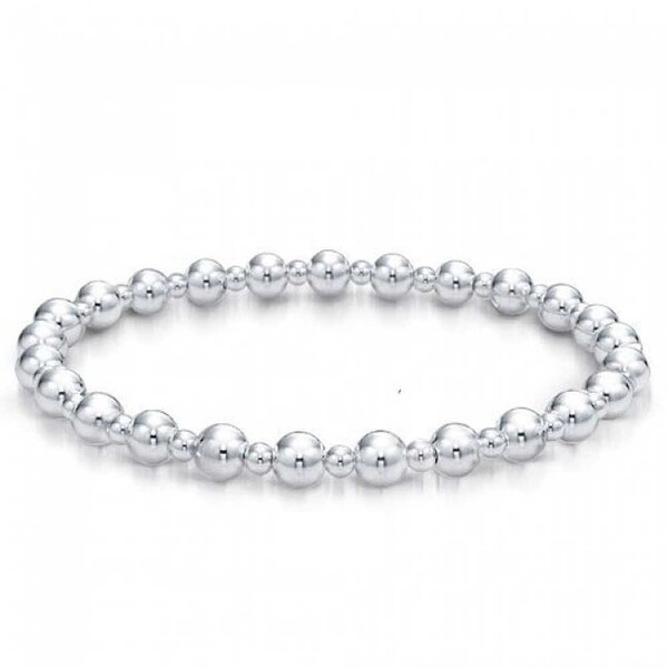 Bling Jewelry 925 Sterling Silver Round Ball Bead Bridal Stretch Bracelet