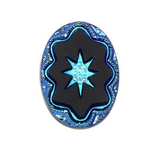 Czech Glass, Vintage Style Intaglio Star Cabochon 25x18mm, 1 Piece, Scarab Blue on Jet