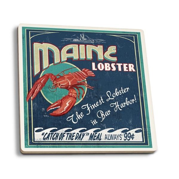 Bar Harbor, ME - Lobster Vintage Sign - LP Artwork (Set of 4 Ceramic Coasters)