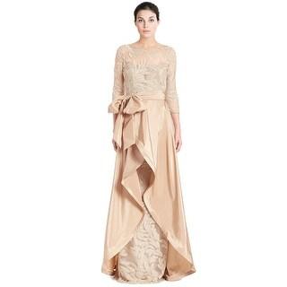 Teri Jon Bead Embellished 3/4 Sleeve Evening Gown Dress
