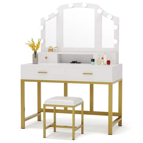 Makeup Vanity Dressing Table Stool Set with Lighted Mirror & 4 Drawers White Gold - White Gold