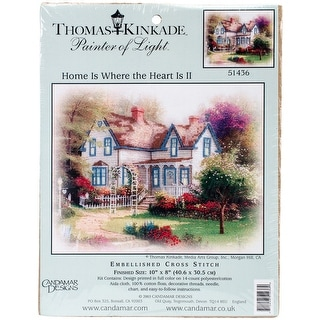 "Thomas Kinkade Home Is Where Embellished Cross Stitch Kit-8""X10"" 14 Count"