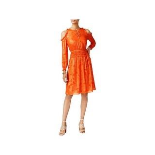 MICHAEL Michael Kors Womens Petites Party Dress Metallic Cold Shoulder