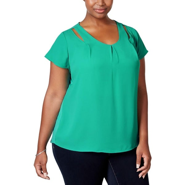 NY Collection Womens Plus Blouse Cut-Out Keyhole