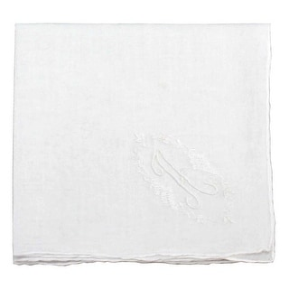 Classic and Regal Initial Embroidered Cotton Handkerchief