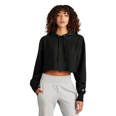 Champion Ladies Cropped Cut Off Hooded Sweatshirt