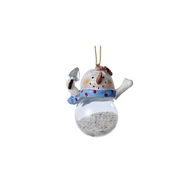 "2.5"" Seaside Escape Glitter Embellished Snowman Filled Glass Christmas Ornament - WHITE"
