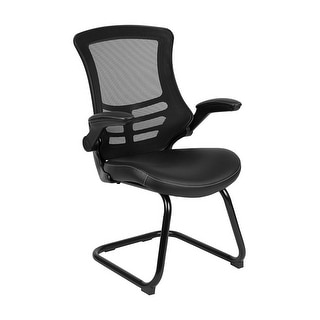 Offex Mesh Sled Base Side Reception Chair with White Stitched LeatherSoft Seat and Flip-Up Arms - Black