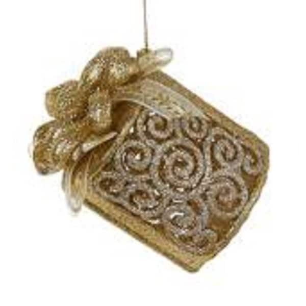 Seasons of Elegance Gold & Silver Cylindrical Gift Box Christmas Ornament 3.25""