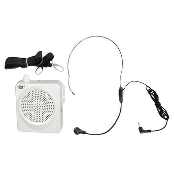 50 Watts Portable, Waist-Band Portable Pa System With A Headset Microphone w/Built In Rechargeable Batteries (Color White)