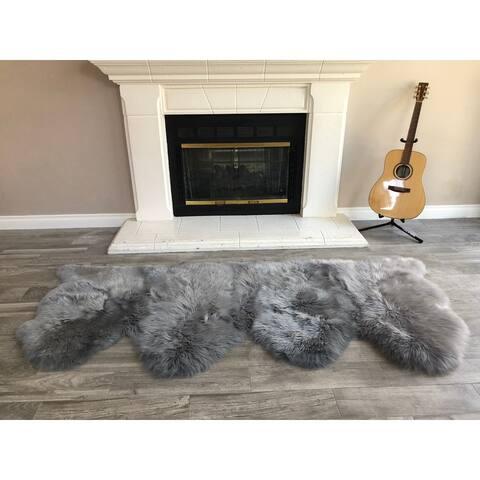 """Dynasty Natural 4-Pelt Luxury Long Wool Sheepskin Grey Shag Rug - 3' x 6'8"""""""