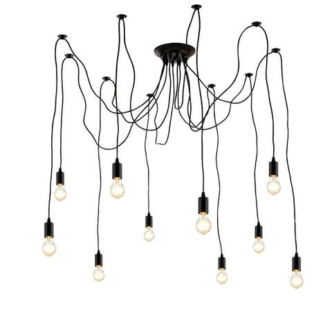 Edison Pendant Light Chandelier 10 Pendants Matte Black