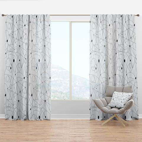 Designart 'Retro Geometric Grid III' Mid-Century Modern Curtain Panel