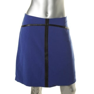 Anne Klein Womens Faux Leather Trim Lined Pencil Skirt - 8