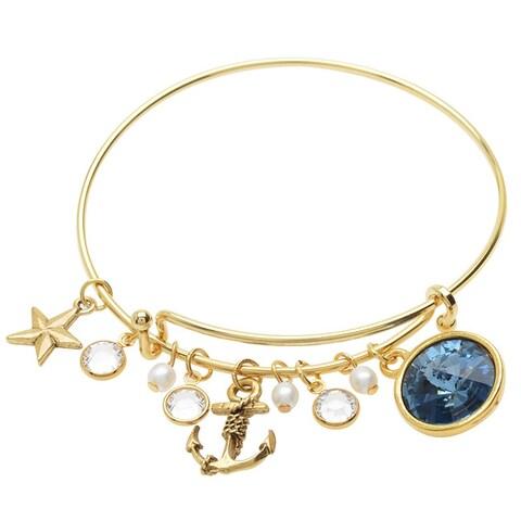 Nautical Blue Deluxe Charm Bangle Bracelet - Exclusive Beadaholique Jewelry Kit