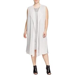 Eileen Fisher Womens Plus Sweater Vest Linen Blend Open Front