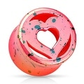 Pink Heart Splatter Double Flared Acrylic Saddle Fit Plug (Sold Individually) - Thumbnail 0