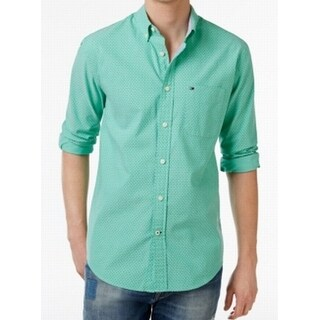Tommy Hilfiger NEW Green Mens Size 3XL Button Down Dot Print Shirt